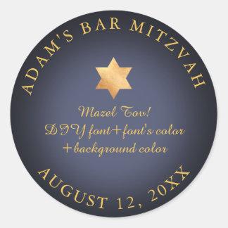 PixDezines Bar Mitzvah/Bat Mitzvah/DIY colour Round Sticker