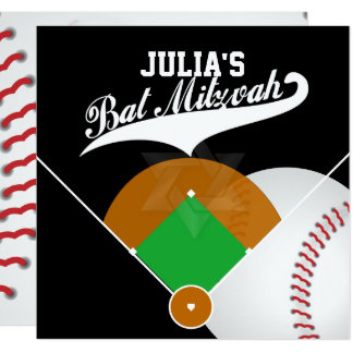 "PixDezines ✡ Baseball Diamond/ Bat Mitzvah 5.25"" Square Invitation Card"