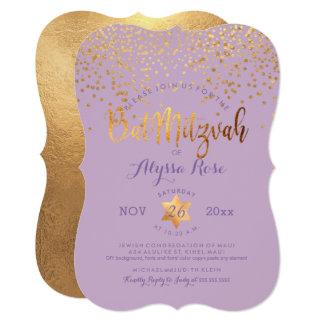 PixDezines Bat Mitzvah/Faux Gold Confetti Card