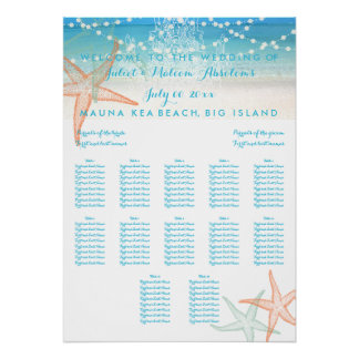 PixDezines Beach/Chadeliers/Seating Chart Poster