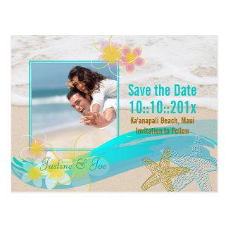 PixDezines beach, starfis, save date/diy occasions Postcard