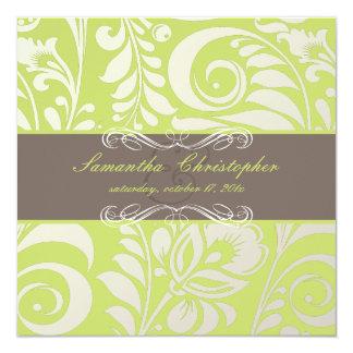 "PixDezines Bellissimo Damask, Cocoa+Lime 5.25"" Square Invitation Card"
