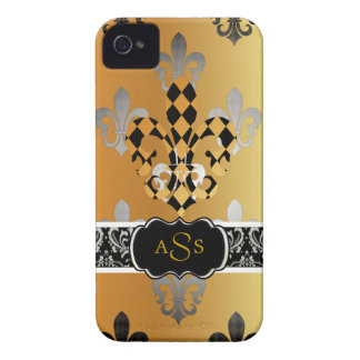 PixDezines black gold fleur de lis Case-Mate iPhone 4 Case