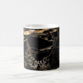 PixDezines BLACK MARBLE FAUX GOLD VEINS Coffee Mug
