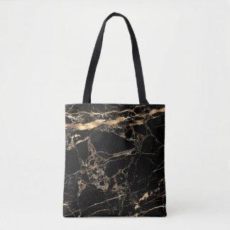 PixDezines BLACK MARBLE+FAUX GOLD VEINS Tote Bag