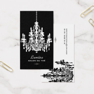 PixDezines BLACK+WHTE CHANDELIERS/DIY background Business Card