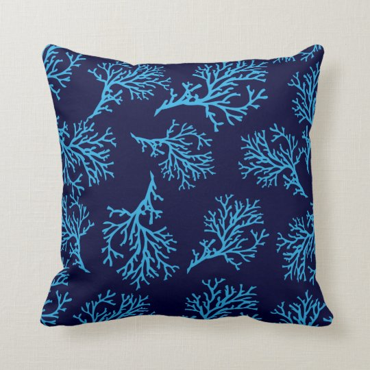 PixDezines blue coral/diy background Throw Pillow