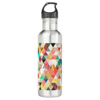 PixDezines Boho Watercolor Geometric/Triangles 710 Ml Water Bottle