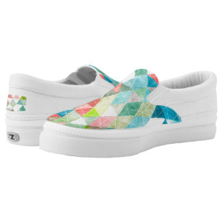 PixDezines Boho Watercolor Geometric/Triangles Slip-On Sneakers