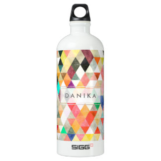 PixDezines Boho Watercolor Geometric/Triangles Water Bottle
