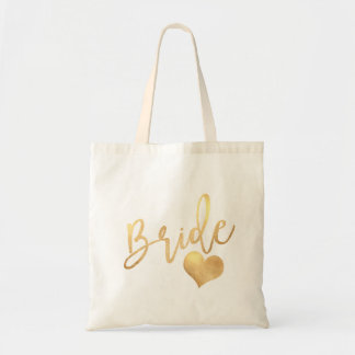 PixDezines Bride/Faux Gold Script Tote Bag