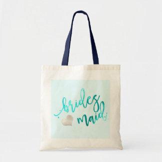 PixDezines Bridesmaid/Faux Foil/Aqua Tote Bag