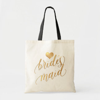 PixDezines Bridesmaid/Faux Gold Script Tote Bag