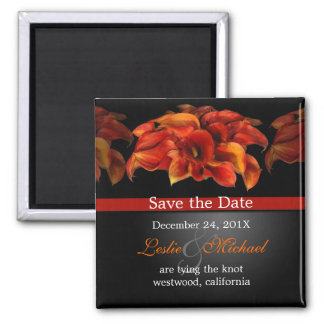PixDezines Burnt Orange Calla Lily, Save the Date Square Magnet