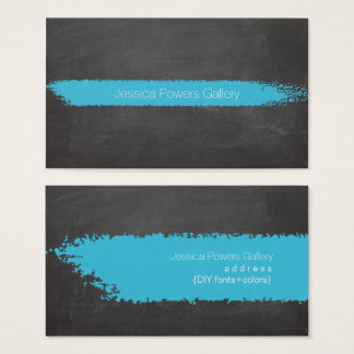 PixDezines Chalkboard/Aqua Blue Chalk Business Card