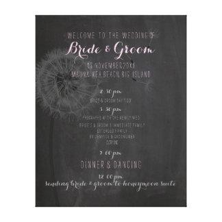PixDezines chalkboard/dandelion wedding program Canvas Print