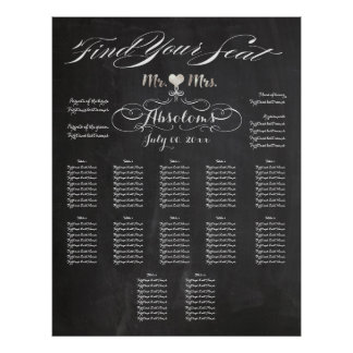 PixDezines Chalkboard Find Your Seat/Seating Chart Poster