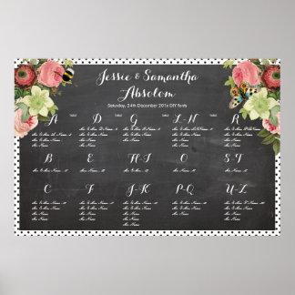 PixDezines chalkboard+vintage roses/seating chart Posters