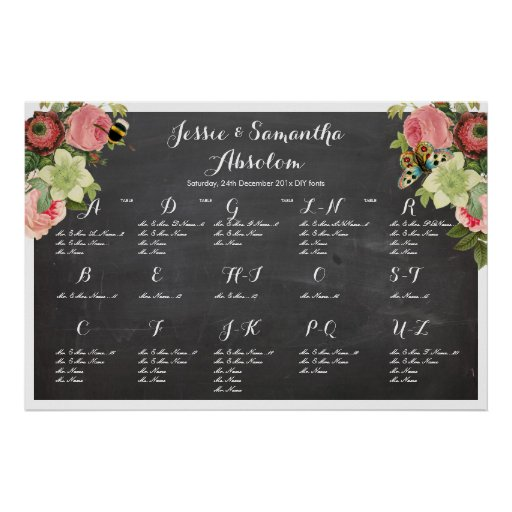 PixDezines chalkboard+vintage roses/seating chart Posters
