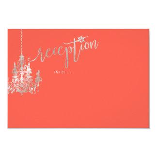 PixDezines Chandelier/Bat Mitzvah Reception/Coral Card