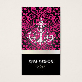 PixDezines Chandelier + lace damask /pearl + white Business Card