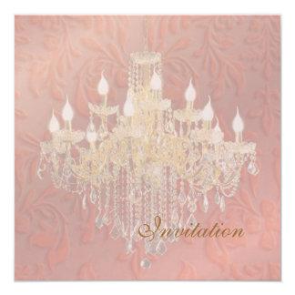 "PixDezines Chandelier Pink Champagne Baroque Damas 5.25"" Square Invitation Card"