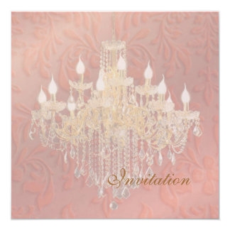 PixDezines Chandelier Pink Champagne Baroque Damas Card