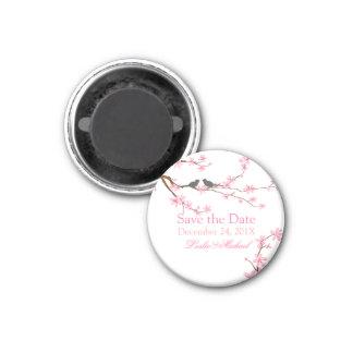 PixDezines Cherry Blossom+love birds 1 Inch Round Magnet