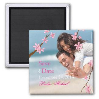 PixDezines Cherry Blossom, save the date photo Square Magnet