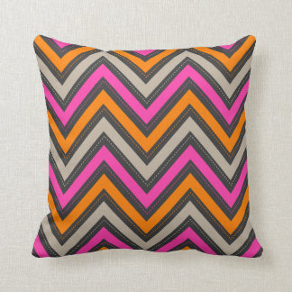 PixDezines chevron pink+orange/diy background Throw Pillow