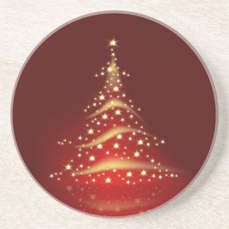PixDezines Christmas Tree/red+gold Drink Coaster