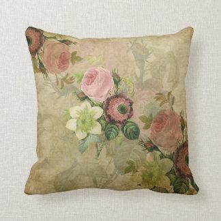 PixDezines collage vintage cottage roses, pink Throw Pillow