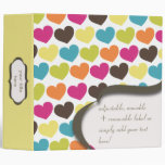 PixDezines Colourful Hearts, back to school 3 Ring Binders