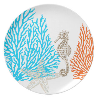 PixDezines coral+seahorse/DIY background color! Plate