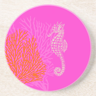 PixDezines Coral+Seahorse/natural+hot pink Drink Coasters