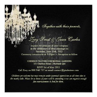 "PixDezines Crystal Chandelier + Damask/black+white 5.25"" Square Invitation Card"
