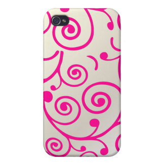 PixDezines Cupcake Swirls, hot pink+faux pearl Cover For iPhone 4