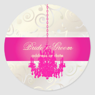 PixDezines Cupcakes Swirls+Hot Pink Chandelier Classic Round Sticker