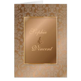 PixDezines Damask 4, Copper, folded invitations