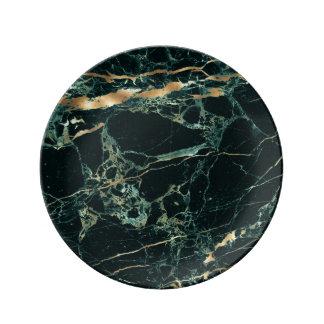PixDezines DARK GREEN MARBLE/FAUX GOLD VEINS Plate