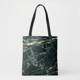 PixDezines DARK GREEN MARBLE+FAUX GOLD VEINS Tote Bag