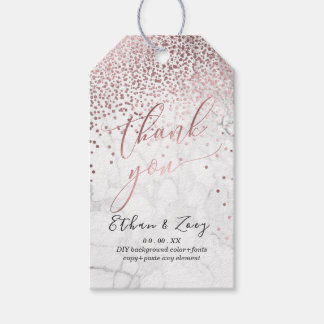 PixDezines Dazzled Faux Rose Gold/Marble Gift Tags