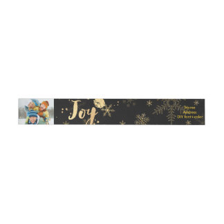 PixDezines dazzled gold snowflakes/holiday joy Wrap Around Label