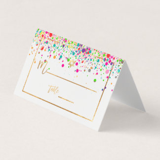 PixDezines Dazzled/Rainbow Confetti/Star of David Place Card