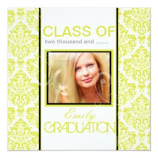 "PixDezines diy 2012 graduation, ella damask 5.25"" Square Invitation Card"