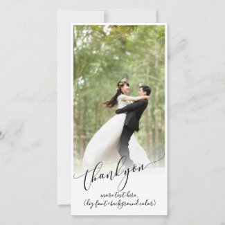 PixDezines DIY background/thank you wedding photo Thank You Card