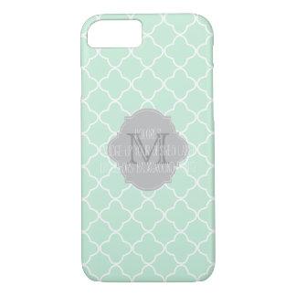 PixDezines diy color/quatrefoil pattern/mint iPhone 8/7 Case