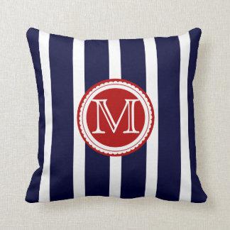 PixDezines DIY color stripes/monogram Throw Pillow