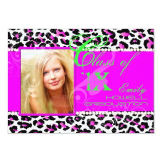 "PixDezines diy colours/2012 Grads, cheetah print 5"" X 7"" Invitation Card"