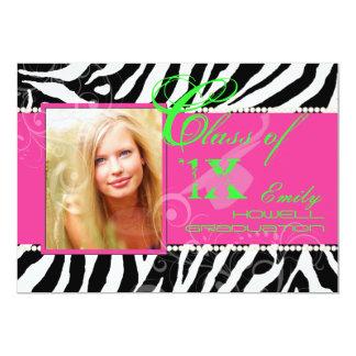 "PixDezines diy colours/2012 Grads, zebra print 5"" X 7"" Invitation Card"